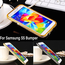 For Samsung S5 G900 Bumper Luxury Diamond Crystal Bling Metal Frame Case Cover for Samsung Galaxy S5 G900F I9600 Rhinestone Case чехол для для мобильных телефонов oem s5 samsung s5 i9600 sv for samsung galaxy s5 i9600 sv