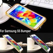 For Samsung S5 G900 Bumper Luxury Diamond Crystal Bling Metal Frame Case Cover for Samsung Galaxy S5 G900F I9600 Rhinestone Case стоимость