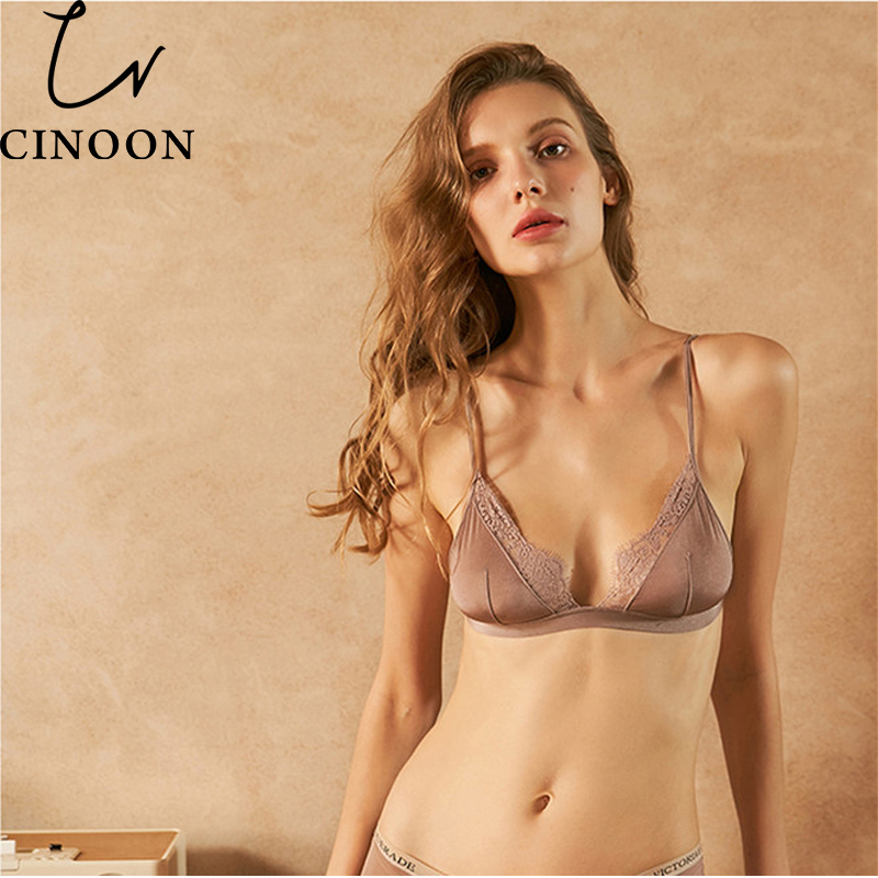 CINOON Sexy Floral Lace Bra Adjusted Straps Silk Women Lingerie Comfortable breathable Bralette