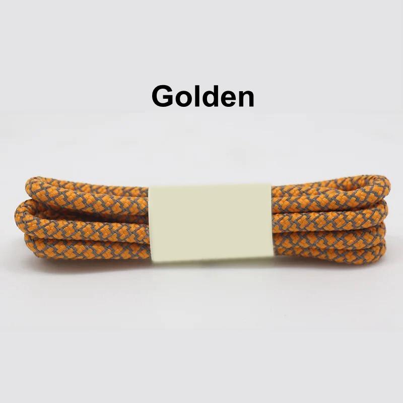 1 пара 100/120/140/160 см флуоресцентные кроссовки шнурков спортивные шнурки 3 м отражающий круглый обувь на шнуровке кружева светлые шнурки - Цвет: Golden