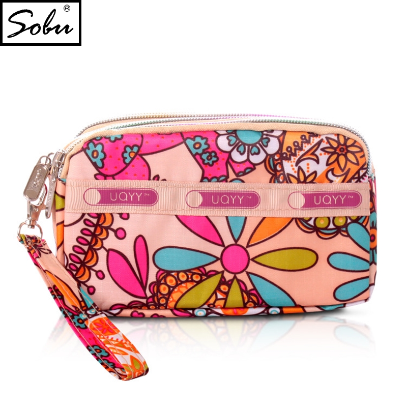 2018 New Coin Purse Women Small Wallet Washer Wrinkle Fabric Phone Purse Three Zippers Portable Make Up bag P010