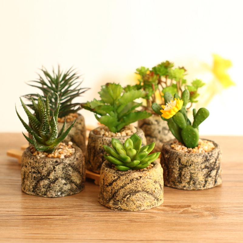 Artificial Succulents Plants Bonsai Fake Flower Plant with Vase Imitation Stone Flower Home Office Decor 6 Type