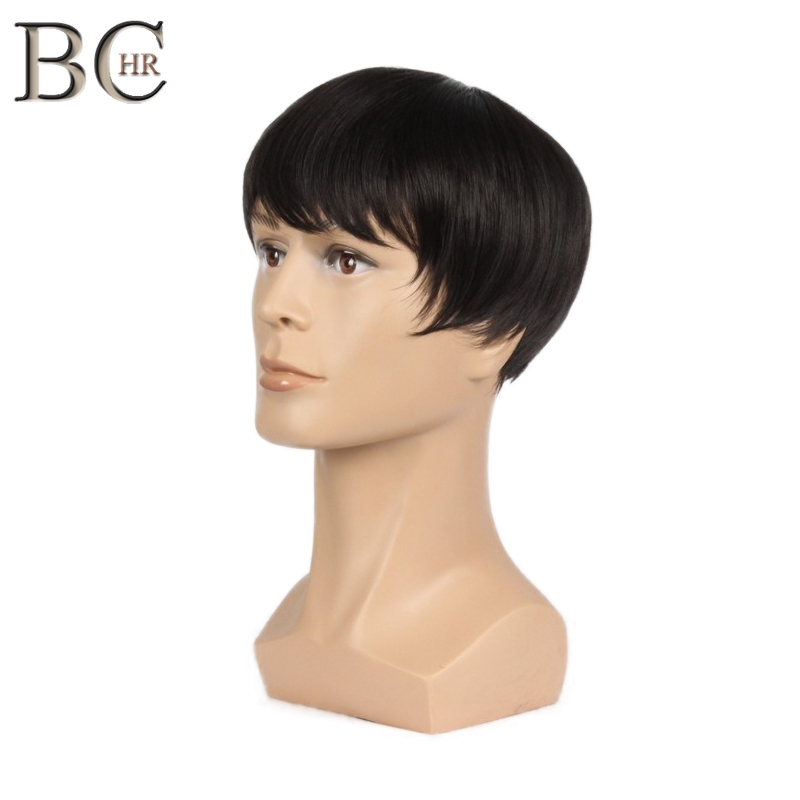 BCHR 8 Inch Short Straight Synthetic Wigs For Men Natural Black Male Wig Heat Resistant Fiber Hair Toupee Wig