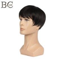 Pelucas sintéticas rectas cortas BCHR de 8 pulgadas para hombres peluca negra Natural masculina Peluca de pelo de fibra resistente al calor