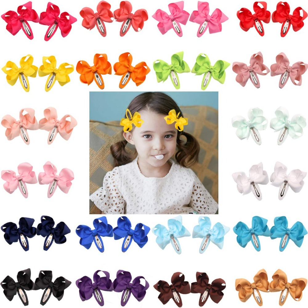 """40pcs 3"""" Hair Bows Snap Clips No Slip Wrapped Baby Girls Hair Barrettes for Toddlers Girls Kids Women Hair Accessories"""