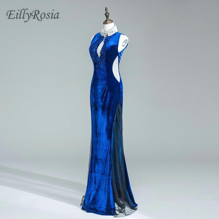 Bleu Royal col haut mère de la mariée robes pour la fête de mariage clé-trou perles Appliques sirène velours nouvel an robe