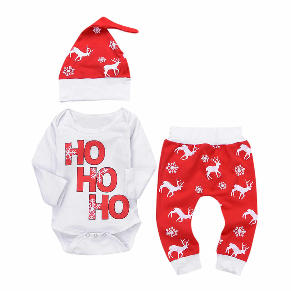 Baby Winter Clothes Newborn Infant Baby Boy Girl Romper Tops+Pants Christmas Deer snowflake Outfits Set baby christmas clothes