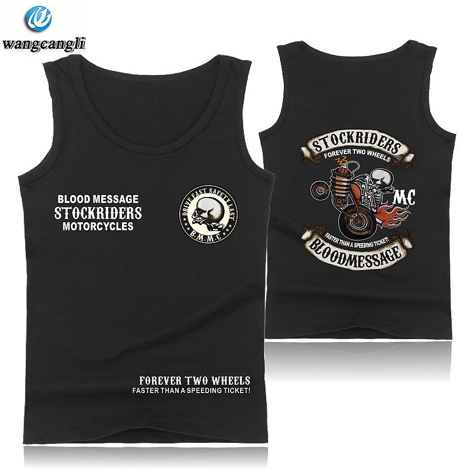2019 Skull Stockriders Motorcycle Cotton   Tank     Top   Men Bodybuilding Brand Casual Sleeveless Shirts mens Skull gyms Vest   tank     Tops
