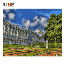 RIHE Church DIY Painting By Numbers Kit, Framed Paint By Numbers on Canvas, Modern Wall Art Picture, Acrylic Paint 40x50cm rihe exquisite rose flowers framed oil painting by numbers coloring by numbers modern wall art picture home decoration 40x50cm