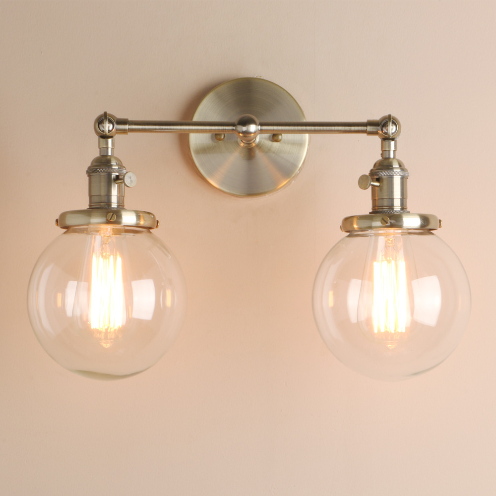 Image 4 - Permo Modern Bedroom Wall Lights Stair Wall Lamp Sconce 5.9 Globe Glass Double Ball Heads Vintage Indoor Lighting Fixtures-in Wall Lamps from Lights & Lighting