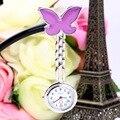 1 unids púrpura enfermera butterfly portable lindo clip de cuarzo colgante reloj de bolsillo 2015
