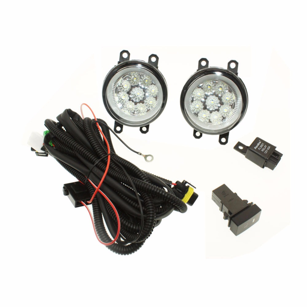 For Toyota Yaris 2006-2013 H11 Wiring Harness Sockets Wire Connector Switch + 2 Fog Lights DRL Front Bumper Halogen Lamp for nissan note e11 mpv 2006 2015 h11 wiring harness sockets wire connector switch 2 fog lights drl front bumper led lamp