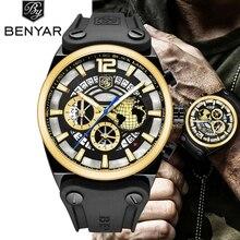 купить 2018 Mens Watches BENYAR Brand Luxury Casual Military Quartz Sport Wristwatch Waterproof Male Clock Gold Watch Relogio Masculino по цене 2136.3 рублей