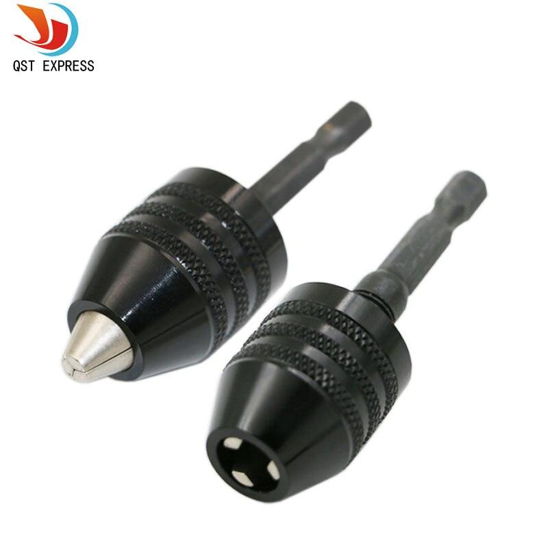 """1pc 0.3-8mm preto keyless broca chuck chave de fenda impacto driver adaptador 1/4 """"6.35mm hex haste broca bits diâmetro ferramentas elétricas"""