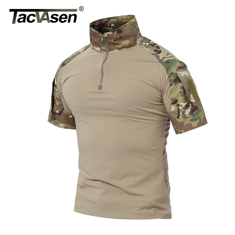 TACVASEN Men Summer T Shirt 2018 New Paintball Tactical T Shirt Short Sleeve Military Camouflage Cotton Tee Shirts Hunt Clothes