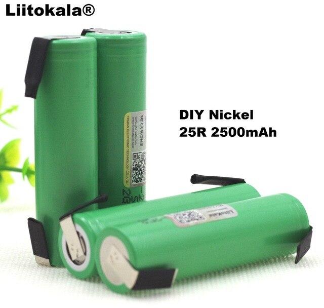 Liitokala новый оригинальный 18650 2500 мАч батареи INR1865025R 3,6 В разряда 20A посвященный Мощность аккумулятор + DIY никелевый лист