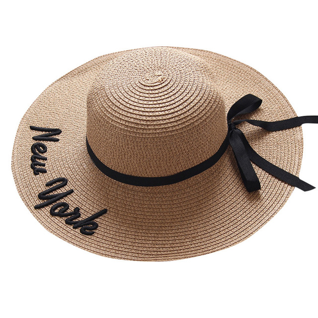 b00663a03 US $6.73 20% OFF|Hot Sale Fashion Wide Brim Sun Hats For Women Letter  Embroidery Straw Hats Casual Girls Bow Tie Beach Hat Ladies' Fold Sun  Caps-in ...