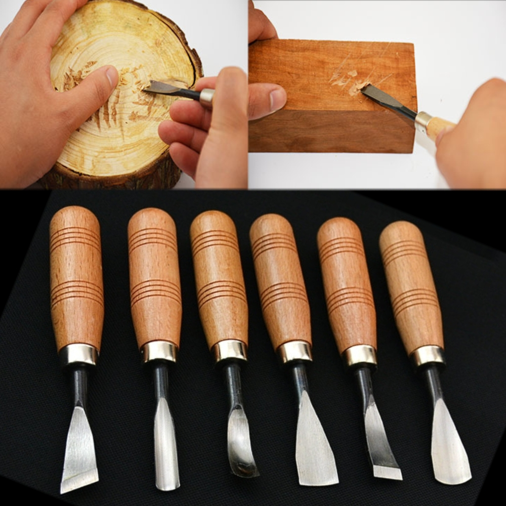 6Pcs Hand Wood Carving Tools Chip Detail Chisel Set Knives Tool for Woodworking