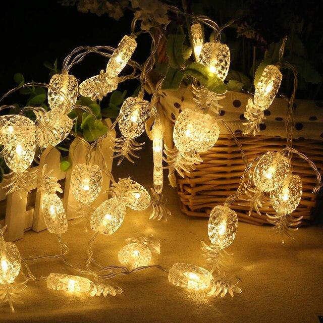 22m 20 led pineapple led string lights holiday party led tropical fruit light patio lanterns - Patio Lanterns