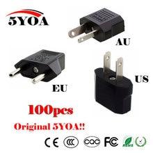 100PC Universal US EU AU Plug USA ยูโรยุโรป Travel Wall ชาร์จไฟ AC Outlet แปลงอะแดปเตอร์ 2 รอบซ็อกเก็ตอินพุต PIN