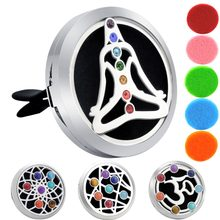 New Arrivals Buddha 38mm Chakra Car Lockets Aromatherapy / Stainless Steel Essential Oils Car Diffuser Locket(China)