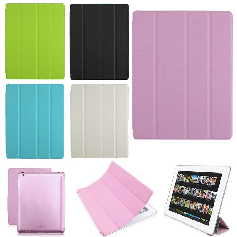 New Transparent Clear PU Leather Cover Case with Folded Protector for Apple iPad 2 3 4 QJY99 1 pcs diy car styling new pu leather free punch with cup holder central armrest cover case for ford 2013 fiesta part accessories