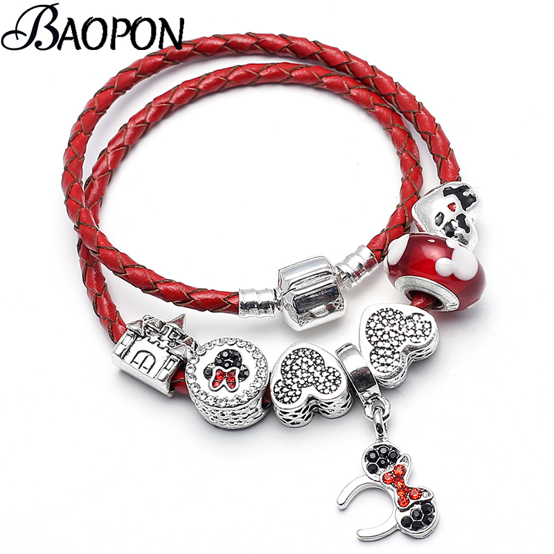 BAOPON Dropshipping Mickey Minnie Crystal Beads Charms Bracelet For Women With Leather Chain Fine Bracelet Jewelry Gift bead