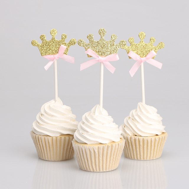 Glitter Gold Silver Crown Pink Blue Bowknot Baby Girl Boy Cupcake