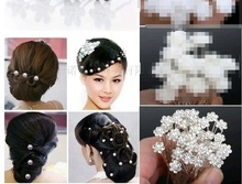 20sets 800PCS Wholesale Wedding Bridal Pearl Hair Pins Flower Crystal Hair Clips Bridesmaid Jewelry U Pick free shipping BL586