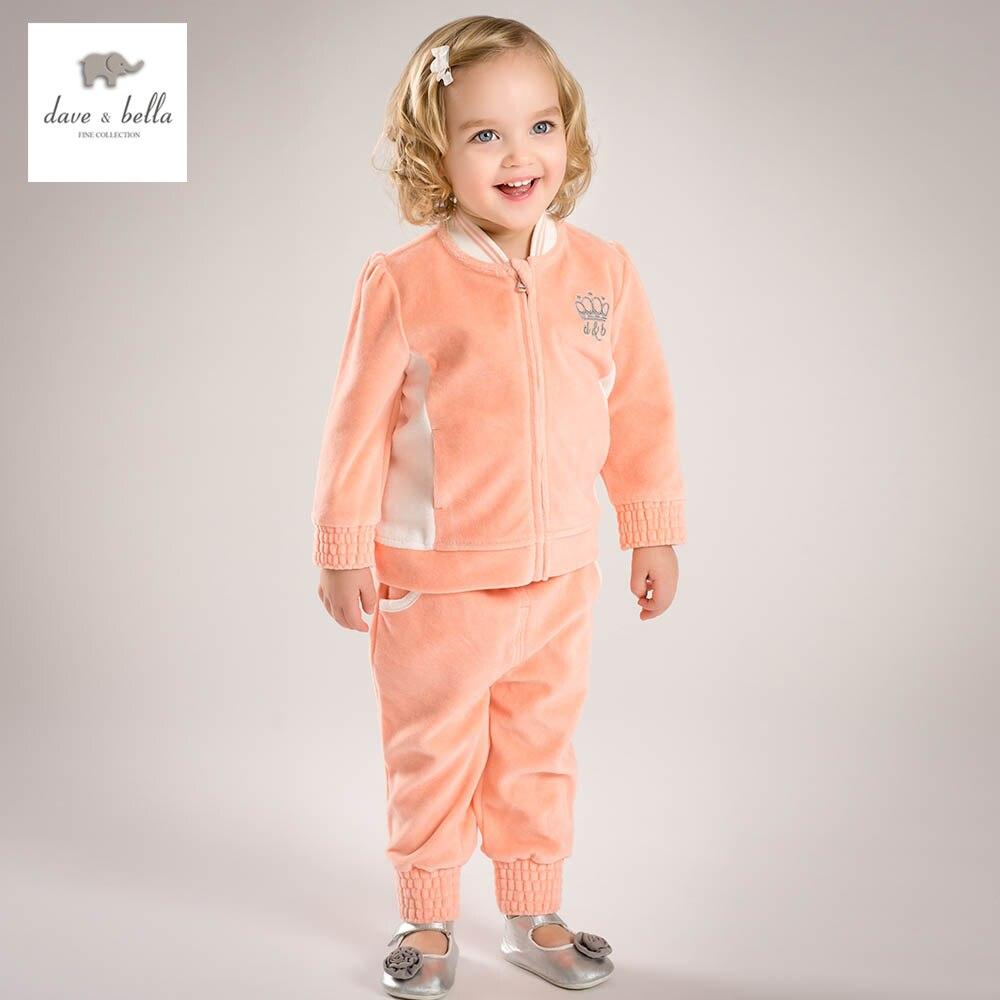 DB4807-1 dave bella spring baby girls orange sports set fashion new design clothing sets boutique clothes