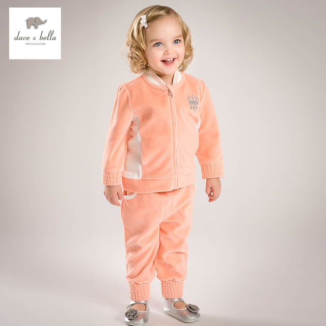 DB4807-1 dave bella spring baby girls orange sports set fashion new design clothing sets boutique clothes