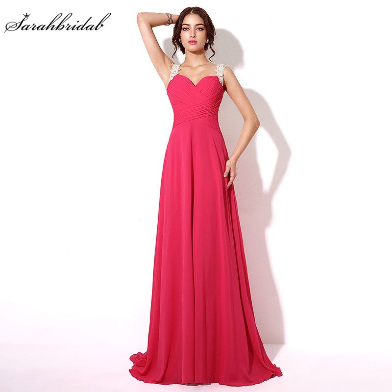 41476ee2930 In Stock Fuchsia Sexy Backless Chiffon Prom Dresses Sweetheart Special Occasion  Dresses Party Gown Real Picture