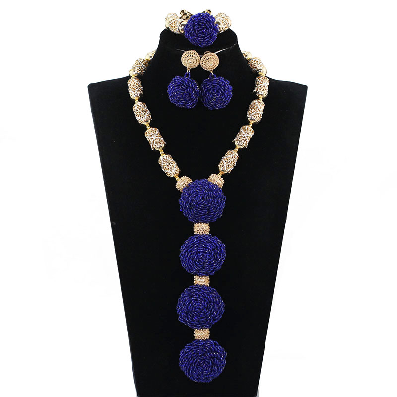 Trendy Fashion Pendant Bridal Necklace Set Exclusive Royal Blue African Wedding Beads Necklace Jewelry Set Free Shipping ABH522