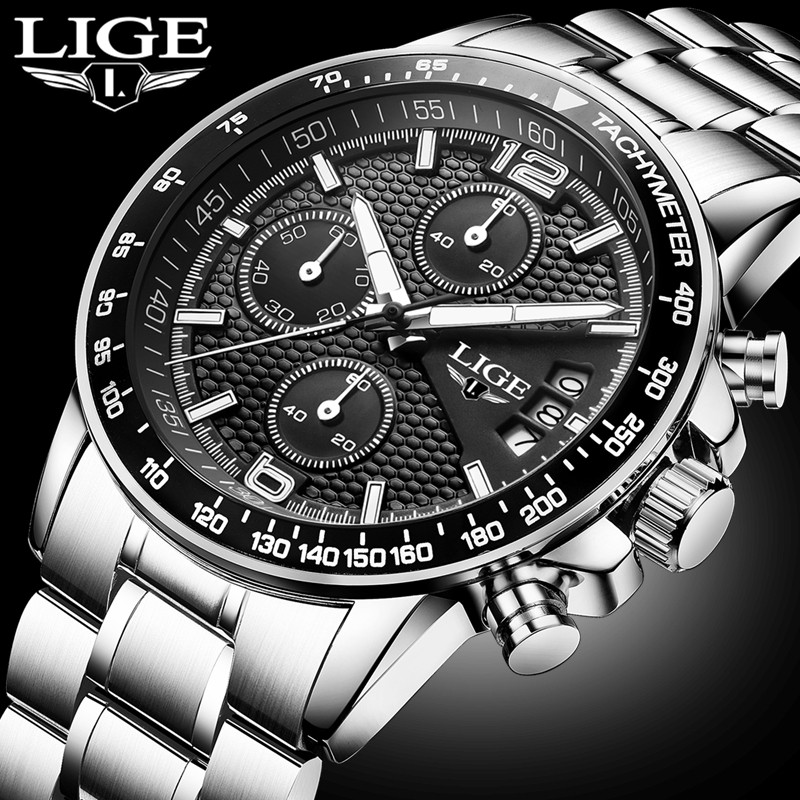 LIGE Luxury Brand Watches Men Six pin Full Stainless steel Military Sport Quartz Watch Man Fashion Casual Business Wristwatches skmei brand fashion men s business watch full steel casual quartz dress watches luxury calendar waterproof wristwatches 9069