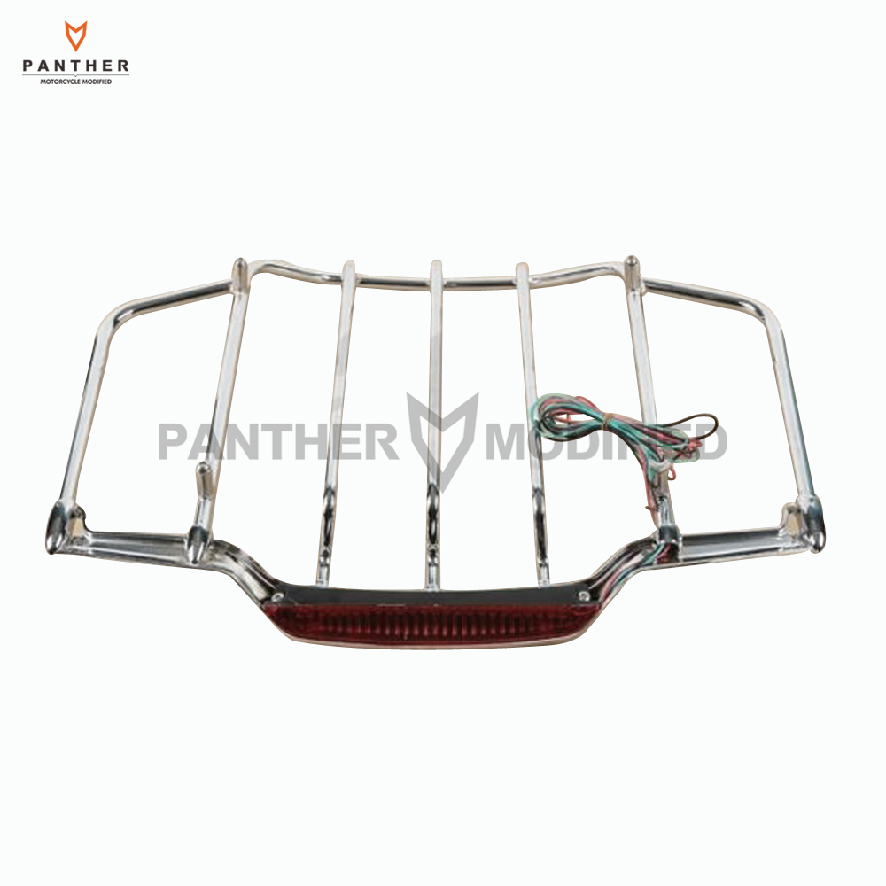 Chrome Motorcycle LED Light Air Wing Luggage Rack case for Harley Touring Electra Street Glide 1993-2013 trunk luggage rack with built in light for harley davidson hd air wing tour pak