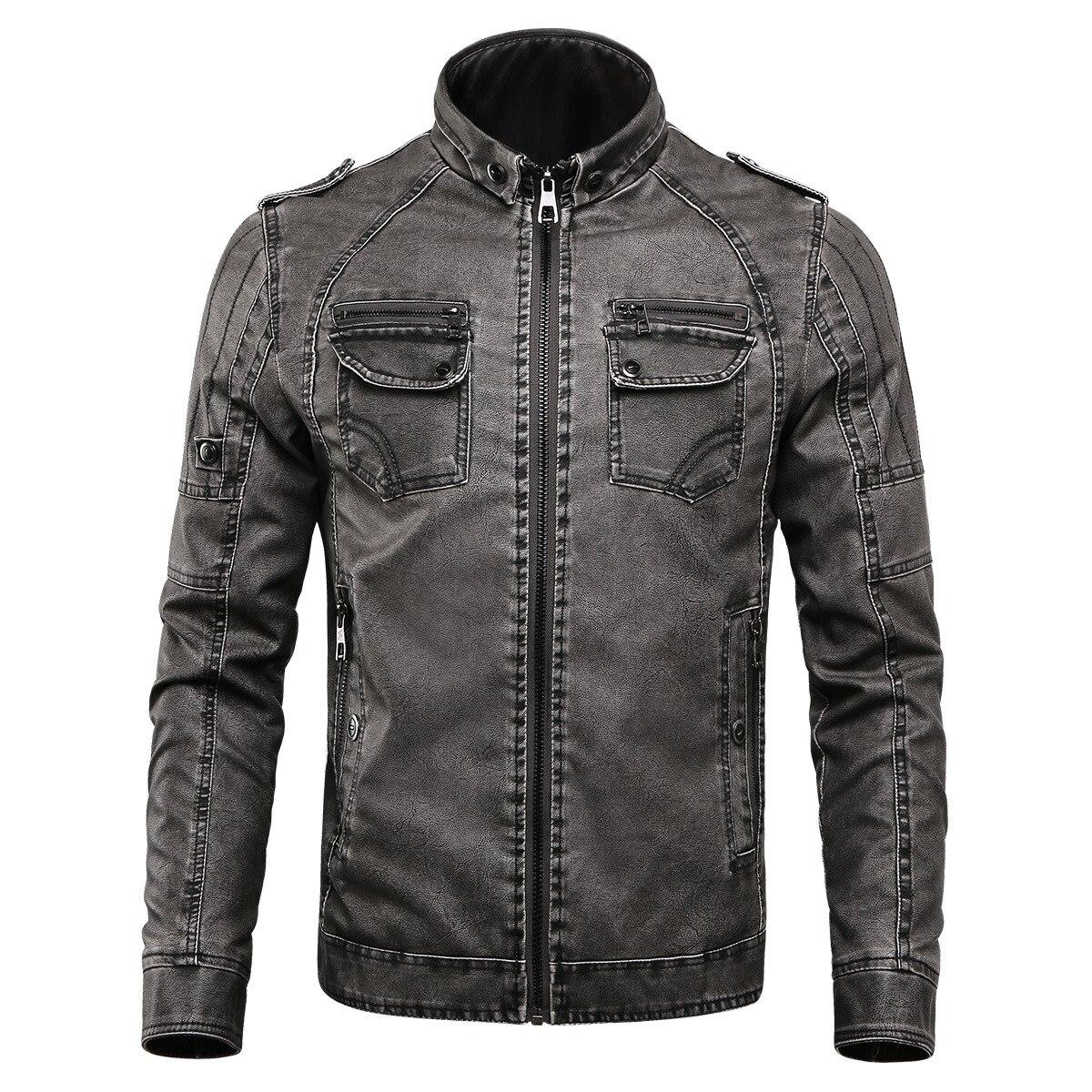 Mens Grey Flight Jacket Motorcycle Plus Size Boys Long Sleeve Faux Leather Loose Vintage Pu Leather Thick Warm Jacket Male Coat