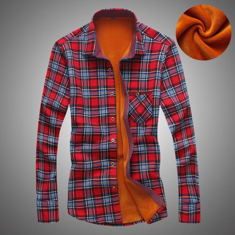 Рубашка мужская осень зима рубашки с длинными рукавами Мужская рубашка тонкий смешанные цвета плед бархат Повседневная рубашка мужская од...