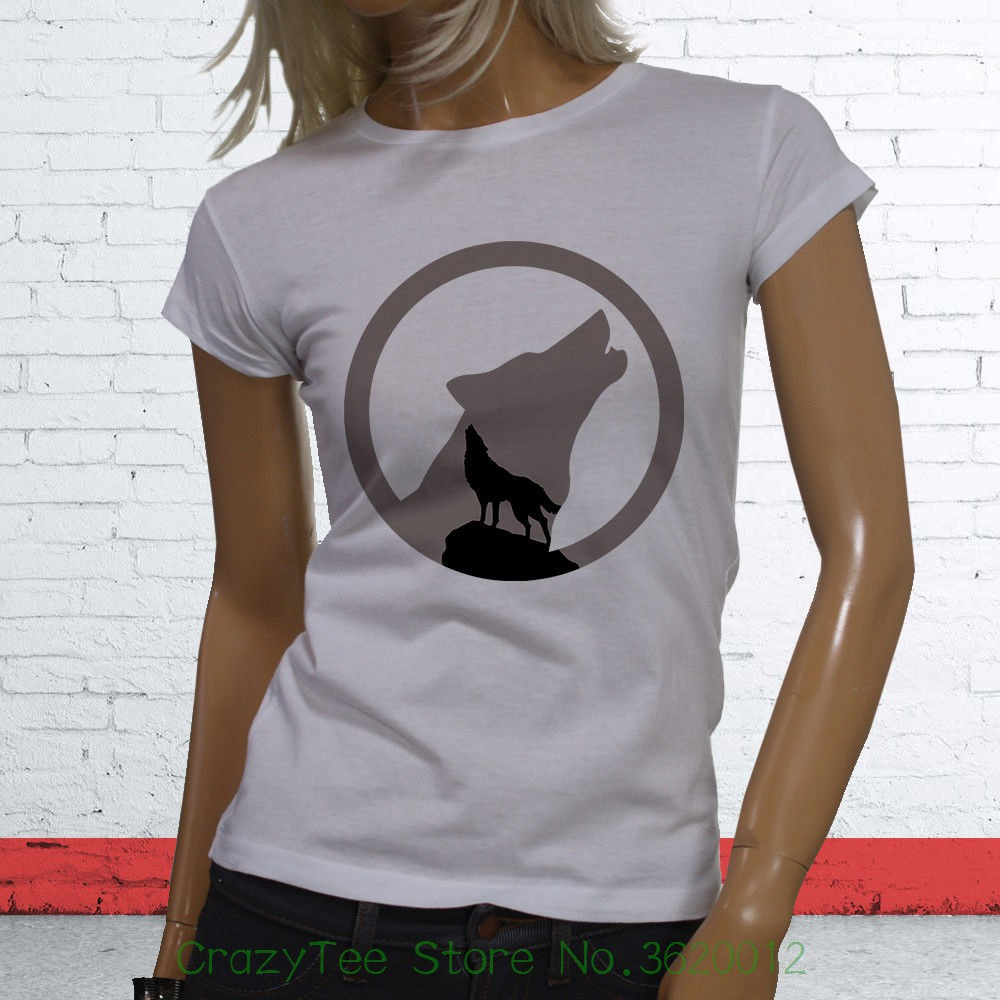 Womens Tee Animal Zoo Twilight Wild Puppy Coyote Arctic Full Moon Wolf Womens White T-shirt Base Shirt