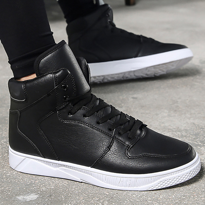 גבוהה למעלה גברים סניקרס מוצק מעצב נעלי גברים מזדמנים נעל החלקה לגפר נעלי שחור 2019 אביב/ סתיו