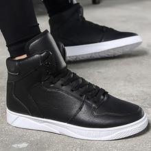 High top Men sneakers Solid Designer Shoes for men casual shoe Non-slip Vulcanize shoes Black 2019 Spring/Autumn