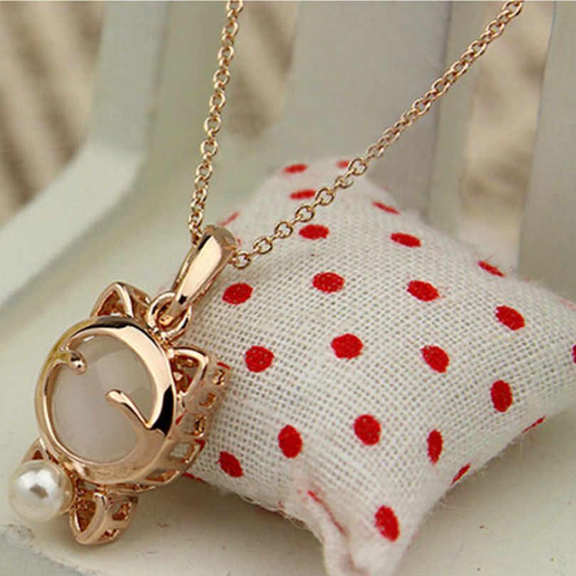 Moda jóias gato sorte boêmio colar de instrução olho de gato pedra pingente colar feminino elegante colar