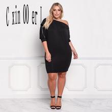Autumn 2018 New Oversize Mini Dress Casual Solid Three Quarter Sleeve Oblique Shoulder Plus Size Women's Clothing