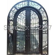 Portes d'entrée en fer de verre portes d'entrée en bois et fer forgé