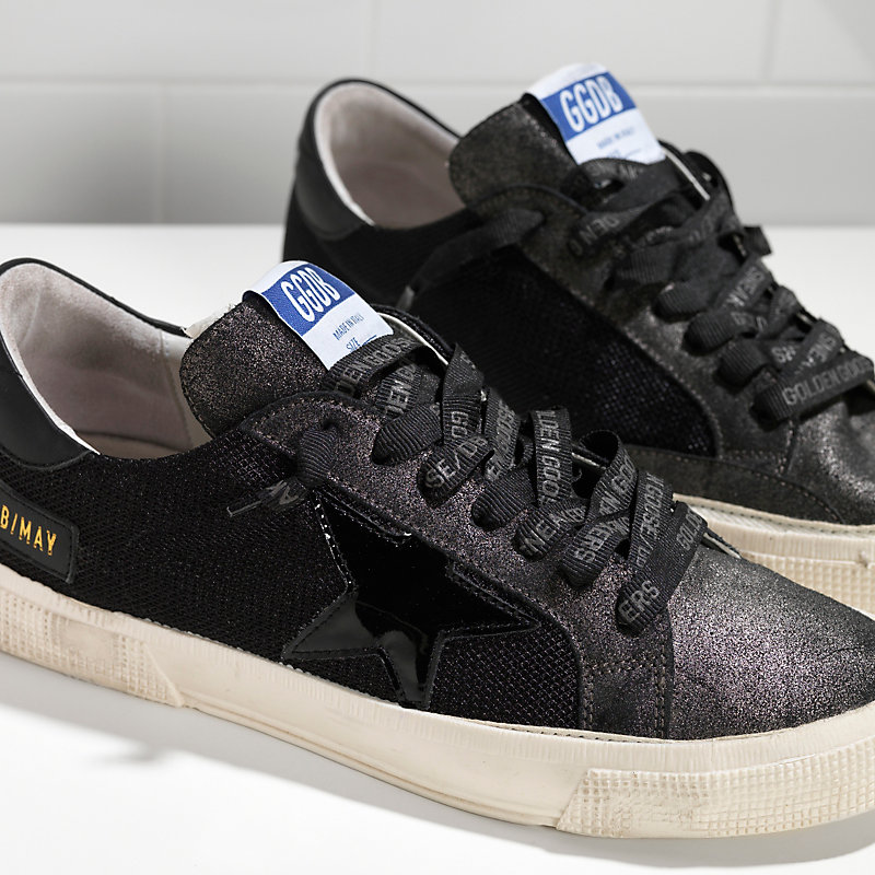 Free shipping New Golden Goose Scarpe Donna Uomo MAY in bonded fabric with leather  star BLACK GLITTER SUEDE-in Men s Casual Shoes from Shoes on ... c1544af534ca