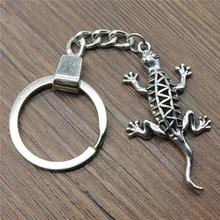 Women Jewelry Gift Key Chain New Vintage Metal Key Chains Antique Silver 50x26mm Gecko Lizard Charm Key Rings women jewelry gift key chain new vintage metal key chains antique silver 52x52mm big hollow carved heart charm key rings