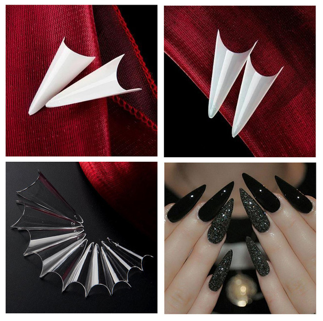 500 pcs Professional Claw Shape Stiletto Half Cover Nail tips ( White, clear, natural )