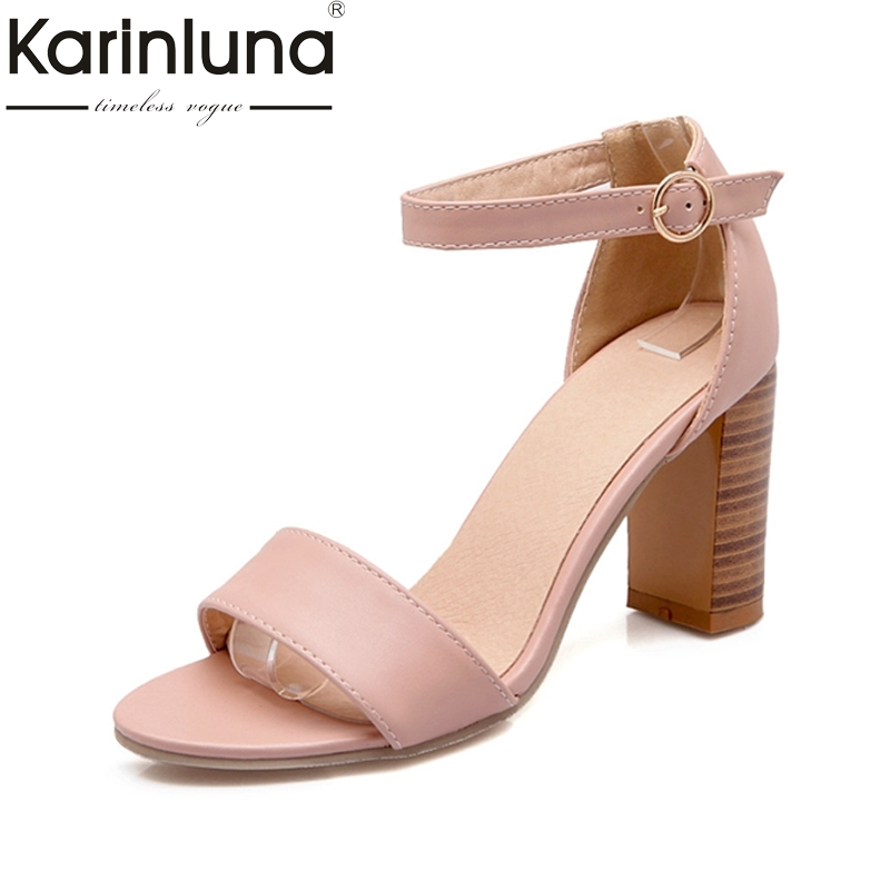 KARINLUNA New Brand Big Size 34-43 Square High Heels Women Shoes European Style Ankle Strap Peep Toe Party Sandals Woman new mf8 eitan s star icosaix radiolarian puzzle magic cube black and primary limited edition very challenging welcome to buy