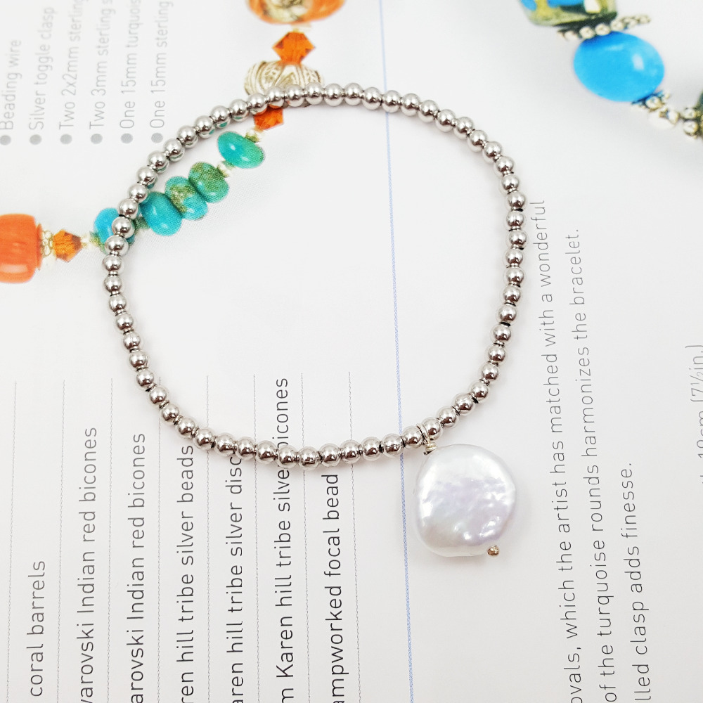 925 Sterling Silver White Gold Color 3mm Beads Freshwater Pearl Coin Shape Chain Fashion Bracelet