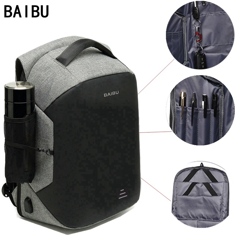 BAIBU Men Multifunction Backpack Anti-theft 15.6 Laptop Backpack USB Charging Women waterproof Business Large Travel BackbagBAIBU Men Multifunction Backpack Anti-theft 15.6 Laptop Backpack USB Charging Women waterproof Business Large Travel Backbag