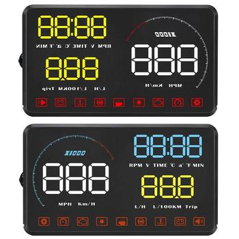 A9 Car HUD OBD2 II Head Up Display 5.5 Inch Color Screen Plug and Play Speed Alarm Overspeed Warning System Speed Projector image